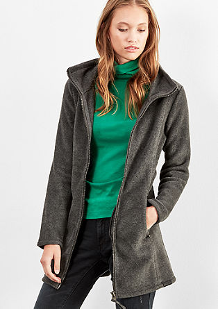 Long fleece jacket with a stand-up collar from s.Oliver