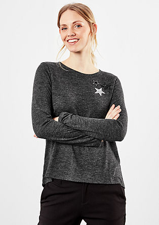Long sleeve top with star appliqués from s.Oliver