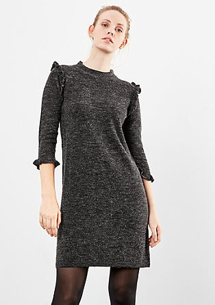 Melange knitted dress with frills from s.Oliver