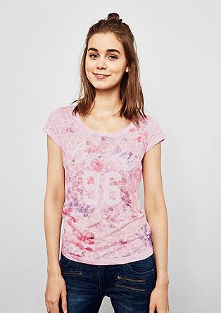 Shirt met ausbrenner-motief en pailletjes