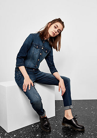 Denim-Jumpsuit mit 3/4-Arm