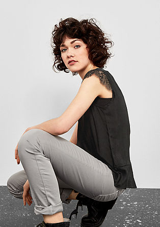 Blouse top with lace and a flounce hem from s.Oliver