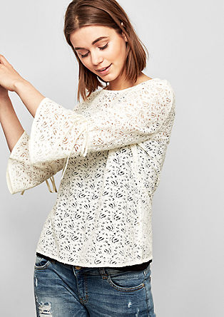 Lace blouse with trumpet sleeves from s.Oliver