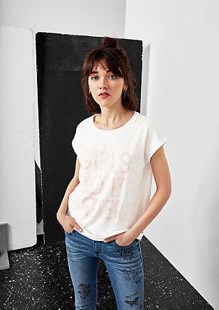 Shirt met slubgaren en kanten laagjeslook