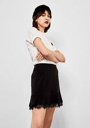 Skirt with a lace layer from s.Oliver