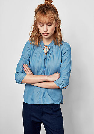 Denim blouse van lyocell