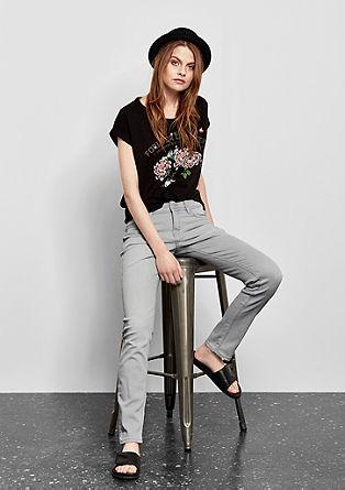 Catie slim: jeans met een used look