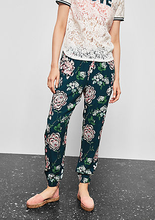 Lightweight trousers with a floral pattern from s.Oliver