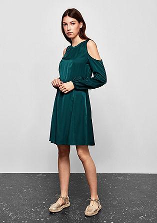 Cold-shoulder jurk van satijn