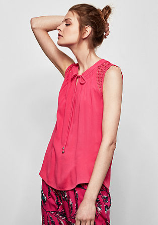 Crêpe blouse top with a lace yoke from s.Oliver