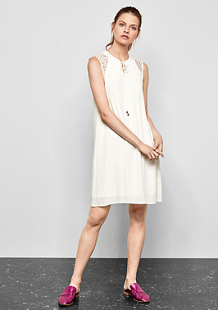 Short crêpe dress with a lace yoke from s.Oliver