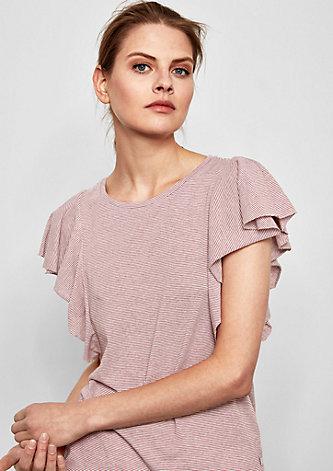 Geringeltes Shirt mit Volantärmeln