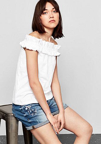 Off Shoulder-Shirt mit Rüsche