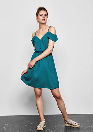 Off Shoulder-Kleid aus Crêpe