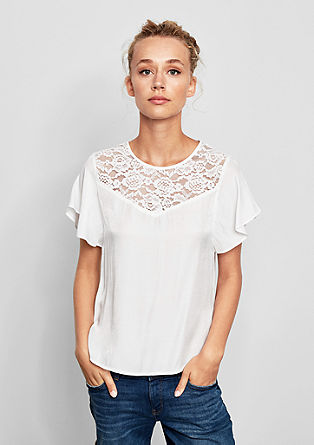 Blouse with lace yoke from s.Oliver