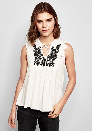 Blouse top with embroidery from s.Oliver