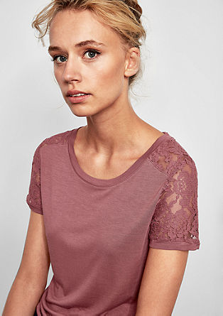 T-shirt with lace details from s.Oliver