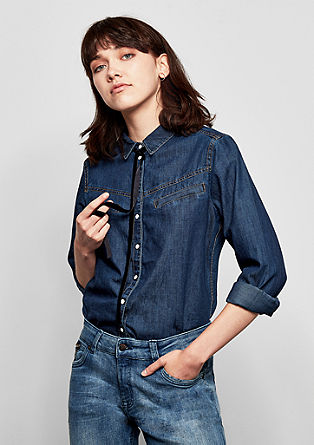 Denim shirt met fluwelen strik