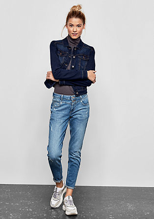 Donkerblauw denim jack met stretch