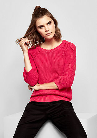 Chunky knit jumper with lacing from s.Oliver