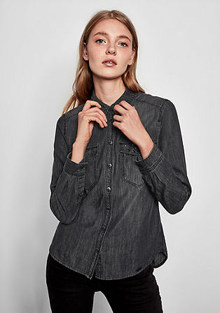 Denim overhemdblouse met studs