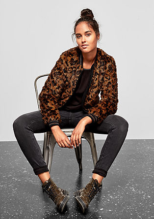 Faux fur jacket with a leopard pattern from s.Oliver
