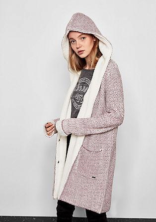 Pletený kabátek s plyšem
