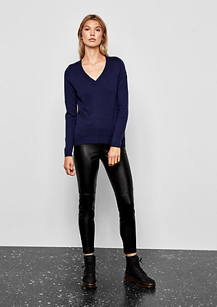 Faux leather leggings with zips from s.Oliver