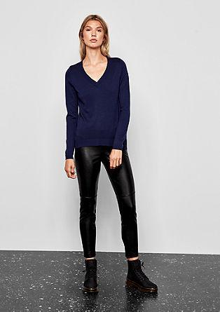 Leggings im Leder-Look mit Zipper