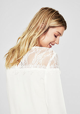 Blouse top with a lace yoke from s.Oliver