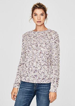 Pleten pulover iz melirane preje