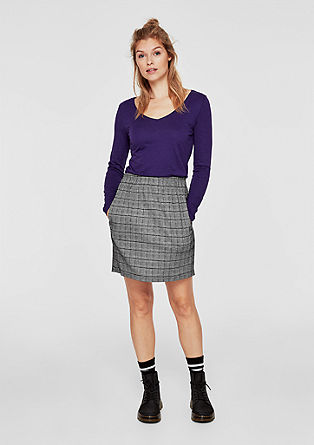 Stretchy skirt with a check pattern from s.Oliver