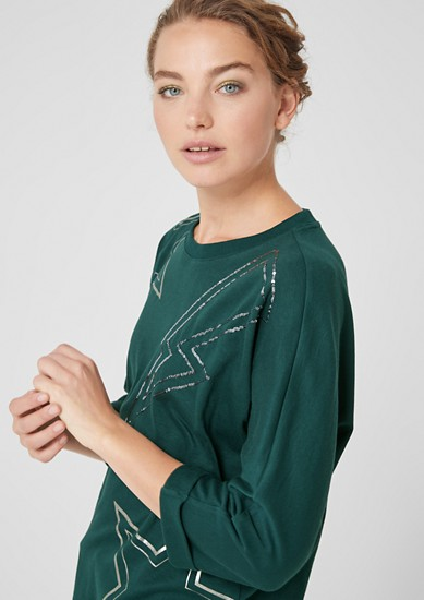 Batwing sleeve top with sequins from s.Oliver