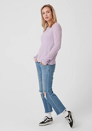 Pletený pulovr sažurovým vzorem