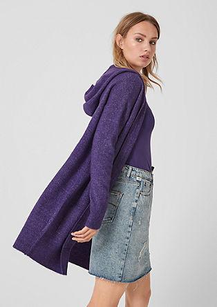 Dlouhý pletený kabátek skapucí