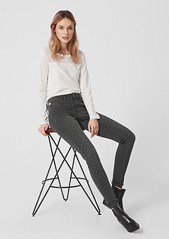 Reena Slim: Highrise-Jeans mit Nieten
