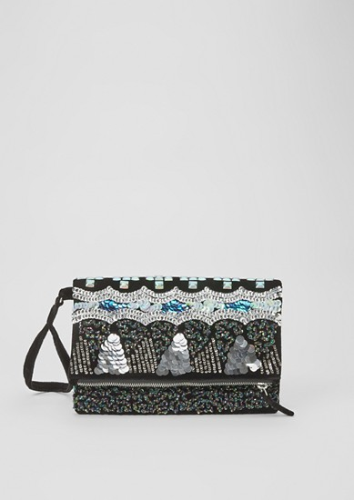 Velvet clutch bag with sequins from s.Oliver
