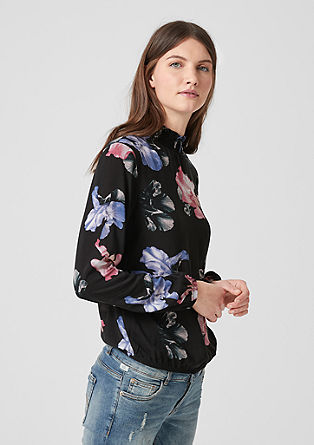 Floral print blouse with a stand-up collar from s.Oliver
