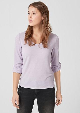 V-Neck-Shirt aus Struktur-Jersey