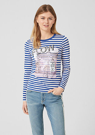 Striped top with artwork from s.Oliver