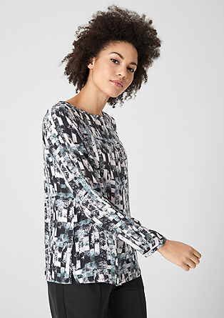 Printed blouse with a bateau neckline from s.Oliver