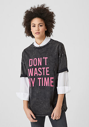 Oversized shirt met statement
