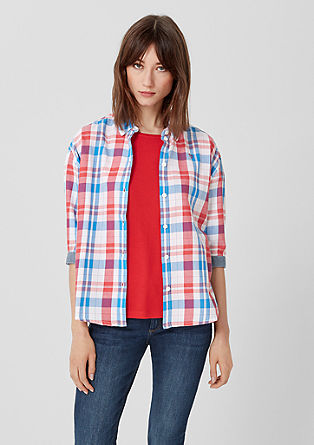 Geruite blouse met 3/4-mouwen