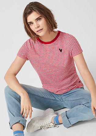 T-shirt à rayures animé d'un cœur brodé de s.Oliver