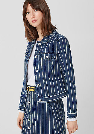 Jeans jakna s črtastim vzorcem