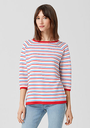 Striped jumper with a curled hem from s.Oliver