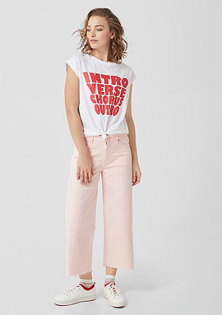 Catie Wide: Cropped high-rise jeans from s.Oliver