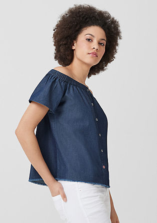 Carmenbluse im Denim-Look