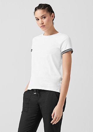 Tričko z žíhané příze, s žebrovými lemy