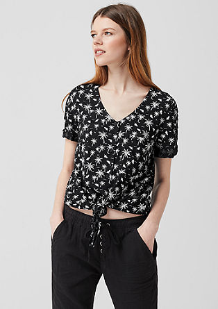 Print blouse with knot detail from s.Oliver